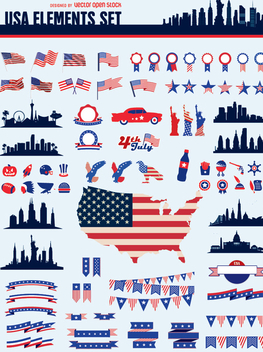 Usa elements set - vector #341819 gratis