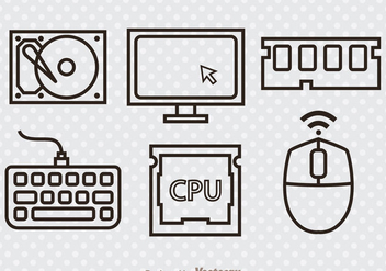 Computer Hardware Outline Icons - Free vector #341919