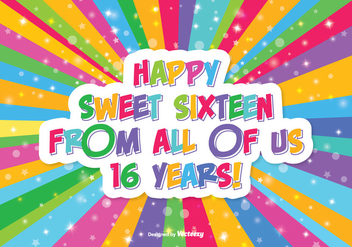 Happy Sweet 16 Illustration - бесплатный vector #341939