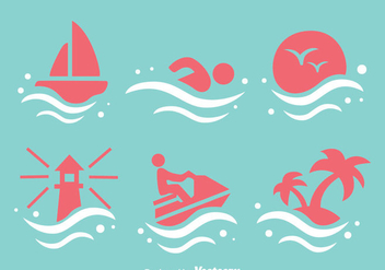 Beach Element Icons - vector #341949 gratis