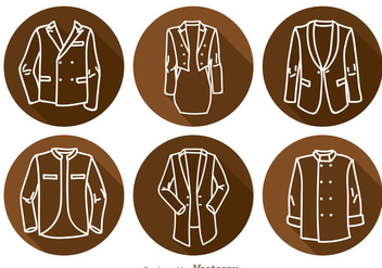 Jacket Long Shadow Icons - Free vector #341979