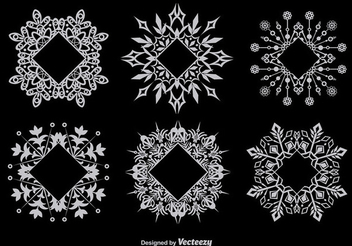 Snowflake Decorative Frame Set - vector gratuit #342019
