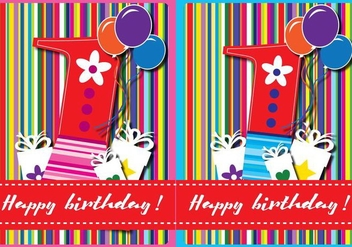 Happy First Birthday Card - vector #342229 gratis