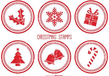 Distressed Christmas Stamps - vector gratuit #342269