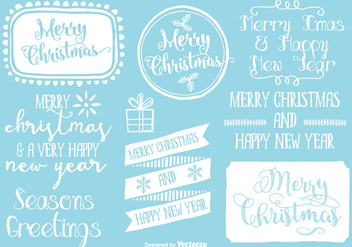 Cute Hand Drawn Style Christmas Labels - vector gratuit #342279