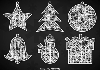 White Christmas Ornament Hangers - vector gratuit #342719