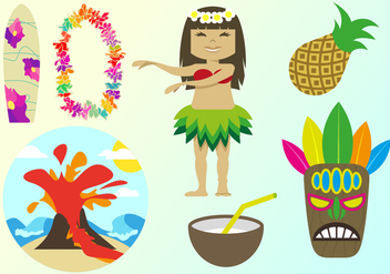 Hawaiian Elements Illustrations Vector - Free vector #342739