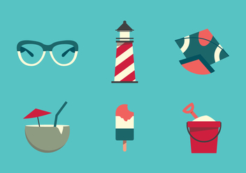 Vector Beach Illustration Set - vector gratuit #342779