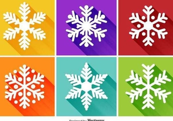 Flat Snowflake Long Shadowed Icons - Free vector #342799
