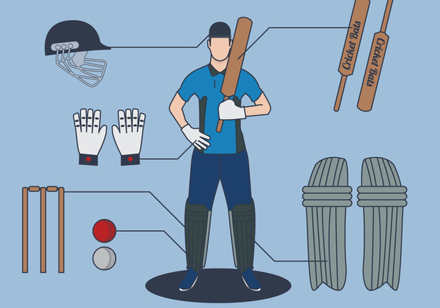Cricket Player Vector - Free vector #343109