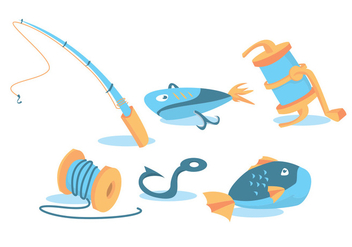 Fish Rod Vector Set - Kostenloses vector #343189