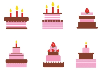 Celebration cakes set - Free vector #343429