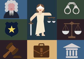 Justice Elements Minimalist Illustration Flat Icons - vector gratuit #343459