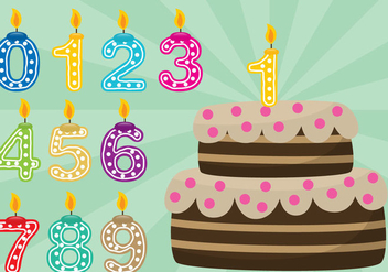 Birthday Cake With Numbers - vector gratuit #343659