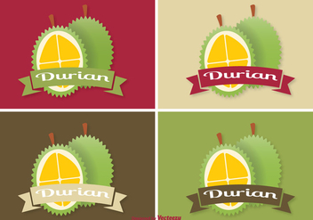 Durian Label Set - vector gratuit #343789