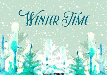 Snowy Winter Landscape Poster - Free vector #343809