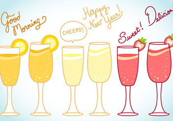 Mimosa and Celebration Vector and Text Art - Free vector #344809
