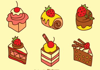 Sweet Cake Vector Set - Kostenloses vector #344899