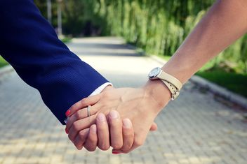 Wedding couple holding hands closeup - Free image #345099