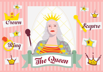 Free Minimal Queen Character Vector Background with Various Elements - vector gratuit #345269