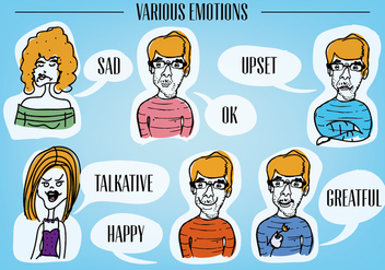 Free Various Emotion Faces Vector Background - Free vector #345309