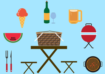 Collection of Elements and Objects for Picnic in Vector - vector gratuit #345389