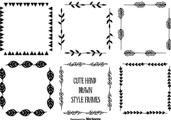 Hand Drawn Style Frame Set - бесплатный vector #345419
