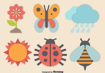 Colorful spring icons - Kostenloses vector #345629