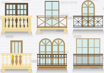 Colorful Balcony Vectors - vector gratuit #345789