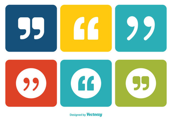 Quotation Marks Icon Set - vector #345999 gratis