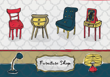 Free Hand Drawn Furniture Vector Background - Free vector #346059