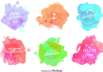 Summer Watercolored Stamps - Free vector #346069