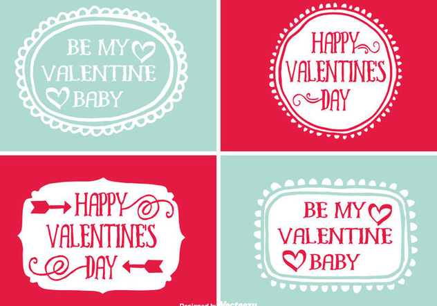 Cute Hand Drawn Style ValentineS Day Labels Free Vector Download