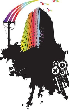 Rainbow Skyscraper Messing Splash - vector gratuit #346499