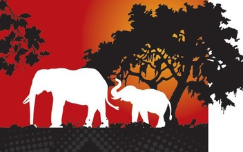 Elephants in the Forest - vector gratuit #346869