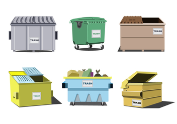 Isolated Dumpster Vector Set - vector gratuit #347099