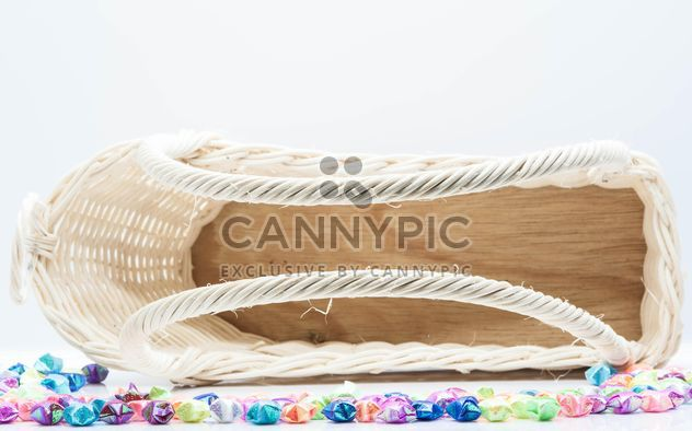 White wicker basket on white background - Free image #347239