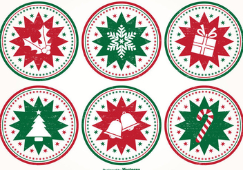 Distressed Style Christmas Stamp Set - Free vector #347599