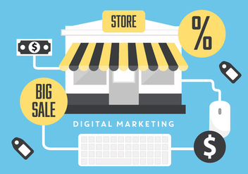 Free Flat Digital Marketing Vector Background with Store - Free vector #347639