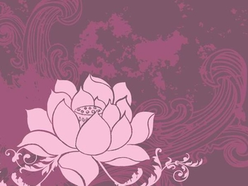 Lotus Flower Retro Grunge Background - vector gratuit #347669