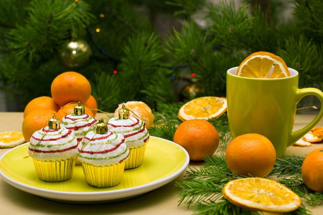 Christmas decorations in shape of cakes on plate - Free image #347779