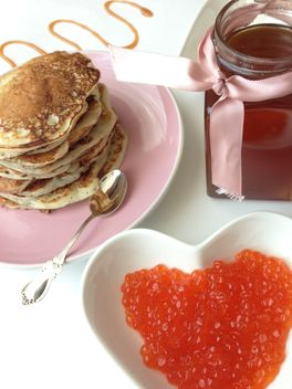 Pile of pancakes, jar of honey and caviar - Free image #348389