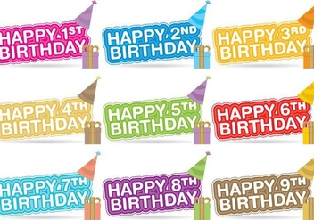 Birthday Title Vectors - vector gratuit #348739