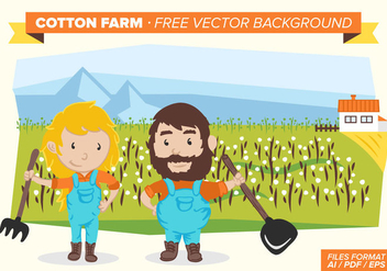 Cotton Farm Free Vector Background - бесплатный vector #348839
