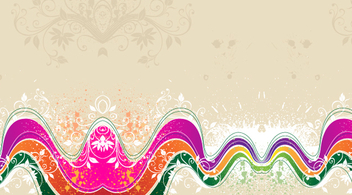 Grunge Floral Waves Background - vector gratuit #348889