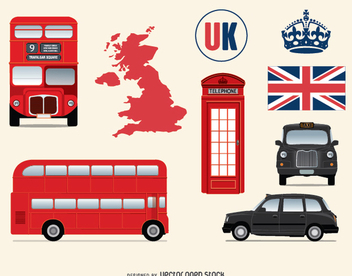 United kingdom and London elements - vector gratuit #348899
