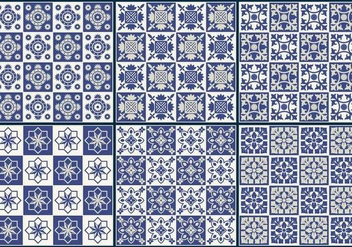 Blue Tiles Pattern Vectors - Free vector #349129