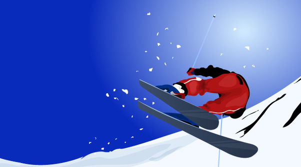 Man Skiing on Mountain - Free vector #349219