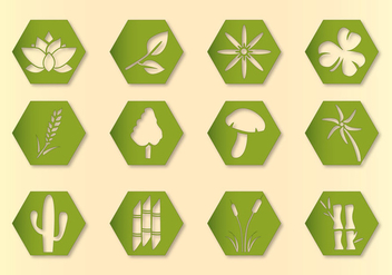 Hex Vector Plants Icons - vector gratuit #349319