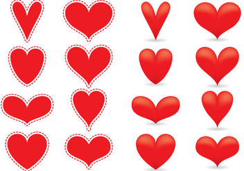 Red Heart Vectors - vector gratuit #349339